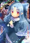 1girl :o animal bangs black_capelet black_cat black_dress blue_bow blue_hair blush bow capelet cat dress eyebrows_visible_through_hair fur-trimmed_capelet fur_trim hair_bow hands_up kouu_hiyoyo len_(tsukihime) long_hair long_sleeves looking_at_viewer parted_bangs parted_lips pointy_ears puffy_long_sleeves puffy_sleeves red_eyes tsukihime very_long_hair