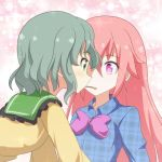 2girls blue_shirt bow cato_(monocatienus) collar commentary_request eyebrows_visible_through_hair face-to-face food frilled_collar frills green_eyes green_hair hata_no_kokoro komeiji_koishi long_hair medium_hair multiple_girls pink_eyes pink_hair plaid plaid_shirt pocky pocky_day pocky_kiss shared_food shirt sparkle_background touhou unmoving_pattern upper_body wavy_hair yellow_shirt yuri