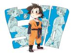 1boy :o back_turned black_eyes black_hair chinese_clothes clenched_hand closed_eyes crying dougi dragon_ball dragonball_z eyebrows_visible_through_hair fukuko_fuku happy long_sleeves looking_at_viewer looking_away looking_back male_focus number open_mouth short_hair simple_background smile son_goten spiky_hair super_saiyan tears white_background