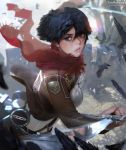 1girl artist_name bangs black_eyes black_feathers black_hair breasts brown_jacket commentary cropped_jacket dual_wielding eyelashes freckles hair_between_eyes highres jacket lips looking_to_the_side medium_breasts mikasa_ackerman no_gloves parted_lips pink_lips red_scarf scarf shingeki_no_kyojin shirt short_hair solo standing sword teemu_rasinkangas teeth twitter_username weapon white_shirt