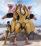 1girl alcohol arm_at_side arm_up artist_name beach blue_sky bodysuit clouds cloudy_sky cocktail_umbrella cup day drink drinking_glass drinking_straw food fruit hair_over_one_eye headset holding holding_drinking_glass holding_wrench legs_crossed looking_at_viewer mecha ocean outdoors pina_colada pineapple pineapple_slice plugsuit robot rock sand science_fiction shade shore short_hair sky smile solo standing sunlight teemu_rasinkangas toast_(gesture) water watermark yellow_bodysuit