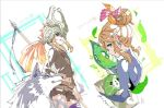 1boy animal blonde_hair blue_eyes cosplay crossdressing dual_persona earrings gloves helmet jewelry leaf link link_(wolf) long_hair looking_at_viewer male_focus midna midna_(cosplay) pointy_ears shuri_(84k) smile the_legend_of_zelda the_legend_of_zelda:_breath_of_the_wild the_legend_of_zelda:_twilight_princess trap wolf