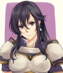 1girl aira_(fire_emblem) armor black_hair earrings elbow_gloves fire_emblem fire_emblem:_seisen_no_keifu fire_emblem_heroes gloves highres jewelry long_hair solo violet_eyes