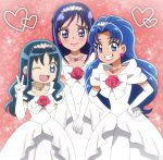 3girls :d blue_eyes blue_hair blush commentary_request dokidoki!_precure dress earrings grin hairband hands_on_hips heart heart_earrings heartcatch_precure! hishikawa_rikka jewelry kirakira_precure_a_la_mode kurumi_erika lipsticks long_hair looking_at_viewer multiple_girls onomekaman open_mouth pink_background precure purple_hair smile tategami_aoi v_arms violet_eyes wedding_dress