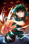 1boy attacking_viewer bangs belt bodysuit boku_no_hero_academia boots bruise bruise_on_face burnt clenched_teeth commentary electricity full_body green_bodysuit green_eyes green_hair green_pants highres injury looking_at_viewer magister_(medical_whiskey) male_focus mask mask_removed midoriya_izuku pants red_footwear sanpaku solo_focus sparks tears teeth torn_clothes wide-eyed
