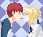 1boy 1girl ahoge artoria_pendragon_(all) blonde_hair blue_bow blue_neckwear blue_ribbon blush bow bowtie braid brown_eyes collarbone collared_shirt emiya_shirou eyebrows_visible_through_hair fate/stay_night fate_(series) fateline_alpha food from_side green_eyes hair_bun hair_ribbon hetero mouth_hold pocky pocky_kiss profile purple_background raglan_sleeves redhead ribbon saber shared_food shiny shiny_hair shirt short_hair sidelocks upper_body white_shirt wing_collar
