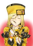 1girl ashiomi_masato blonde_hair closed_eyes fingerless_gloves food fur_hat gloves guilty_gear guilty_gear_xrd hat incoming_pocky_kiss millia_rage mouth_hold pocky pocky_day solo sweat ushanka