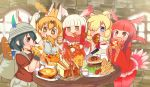 >:t 5girls alpaca_ears alpaca_suri_(kemono_friends) animal_ears arm_up armpits backpack bacon bag baguette bangs belt black_gloves black_hair blonde_hair blue_eyes blunt_bangs blush bow bowtie bread bucket_hat butter cheese cherry_tomato croissant cup eating egg elbow_gloves empty_eyes extra_ears flag food fork french_fries fried_egg frilled_sleeves frills fur_collar gloves gradient_hair grey_eyes hair_bun hair_over_one_eye hair_tie hamburger hat hat_feather head_wings holding holding_cup holding_food holding_fork holding_pizza indoors japanese_crested_ibis_(kemono_friends) japari_symbol kaban_(kemono_friends) kemono_friends knife lettuce long_hair long_sleeves lucky_beast_(kemono_friends) miniskirt multicolored multicolored_clothes multicolored_gloves multicolored_hair multicolored_neckwear multiple_girls open_mouth pantyhose pasta pizza pleated_skirt print_neckwear red_eyes red_gloves red_legwear red_shirt red_skirt redhead sandwich sausage scarlet_ibis_(kemono_friends) serval_(kemono_friends) serval_ears serval_print shirt short_hair short_sleeves shrimp shrimp_tempura skirt sleeveless slice_of_bread soup spaghetti stone_wall table tail_feathers tea teacup teapot tempura toraya_(kakebutonn) wall white_gloves white_hair white_neckwear wide_sleeves window yellow_eyes yellow_gloves yellow_neckwear