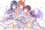 3girls blue_hair closed_eyes closed_mouth dress flower green_eyes hair_between_eyes hair_flower hair_ornament highres hoshizora_rin lily_white_(love_live!) long_hair looking_at_viewer love_live! love_live!_school_idol_festival love_live!_school_idol_project multiple_girls nail_polish one_side_up open_mouth orange_hair petals purple_hair short_hair simple_background sitting smile sonoda_umi takitou toujou_nozomi white_background white_dress wings yellow_eyes
