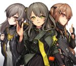 3girls brown_eyes brown_hair fingerless_gloves girls_frontline gloves green_eyes grey_hair gun h&k_ump hair_between_eyes hair_ornament hairclip heckler_&_koch highres holding_strap jacket long_hair looking_at_viewer multiple_girls one_side_up parted_lips randle scar scar_across_eye siblings sisters smile star star-shaped_pupils strap submachine_gun symbol-shaped_pupils thumbs_up twintails ump40_(girls_frontline) ump45_(girls_frontline) ump9_(girls_frontline) upper_body walkie-talkie waving weapon white_background