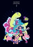 1girl blue_hair character_name copyright_name corsola crystal_(pokemon) electabuzz great_ball highres holding holding_poke_ball meganium piyo_(sanigo) poke_ball pokemon pokemon_(creature) pokemon_(game) pokemon_gsc seadra twintails xatu