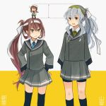3girls :d annin_musou asagumo_(kantai_collection) black_legwear blue_neckwear brown_hair character_name collared_shirt commentary_request fairy_(kantai_collection) grey_eyes grey_skirt hair_between_eyes highres kantai_collection kneehighs long_hair long_sleeves multiple_girls necktie open_mouth pleated_skirt ponytail shirt silver_hair skirt smile thigh-highs white_shirt yamagumo_(kantai_collection)