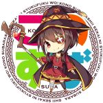 1girl ai_cao asymmetrical_legwear bandage belt black_cape black_hat black_legwear breasts brown_eyes brown_hair cape chibi cleavage collarbone copyright_name dress eyebrows_visible_through_hair eyepatch full_body hair_between_eyes hat head_tilt holding holding_staff kono_subarashii_sekai_ni_shukufuku_wo! megumin red_dress short_dress short_hair_with_long_locks sidelocks simple_background small_breasts smile solo staff standing thigh-highs white_background witch_hat