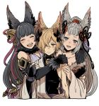 1boy 2girls animal_ears backless_outfit bell blush closed_eyes elbow_gloves emu_(losspass) erun_(granblue_fantasy) fox_ears gloves granblue_fantasy hair_bell hair_ornament kou_(granblue_fantasy) long_hair multiple_girls off_shoulder open_mouth red_eyes smile socie_(granblue_fantasy) tail yuel_(granblue_fantasy)