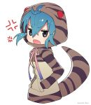 1girl ahoge anger_vein animal_ears aqua_hair cowboy_shot hands_in_pockets highres hood hoodie kemono_friends long_sleeves open_mouth puchiman ribbon short_hair snake_tail striped_hoodie striped_tail tail tsuchinoko_(kemono_friends)