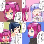 absurdres bangs blue_eyes blush comic hair_ribbon hairband highres mochizuki_momiji multiple_girls narumi_tsubame new_game! one_side_up open_mouth pink_hair ribbon rifyu shirt short_hair suzukaze_aoba translation_request yellow_eyes