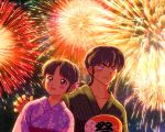 1boy 1girl black_hair braid collarbone crown_braid fan fireworks flower hair_flower hair_ornament japanese_clothes kdc_(tamaco333) kimono open_mouth paper_fan ranma_1/2 saotome_ranma single_braid smile sweatdrop tendou_akane uchiwa violet_eyes