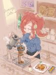 1girl cafe closed_eyes coffee_beans coffee_pot collared_shirt food m10shangrila octarian redhead shirt splatoon strainer takozonesu tentacle_hair waffle