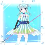 1girl aqua_dress bangs bare_shoulders black_gloves blue_dress blue_eyes blue_footwear blue_hair blue_neckwear blue_ribbon blush boots bubble choker closed_mouth dress earrings elbow_gloves gloves gradient_dress green_dress green_skirt hair_ornament hair_scrunchie highres jewelry light_blue_hair long_hair looking_at_viewer magia_record:_mahou_shoujo_madoka_magica_gaiden magical_girl mahou_shoujo_madoka_magica minami_rena pink_scrunchie polearm ribbon ribbon_choker scrunchie skirt solo spear striped thigh-highs trident two_side_up vertical-striped_dress vertical_stripes weapon white_legwear