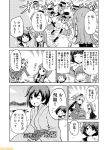 10s 6+girls ;d amatsukaze_(kantai_collection) bangs blunt_bangs comic commentary dress greyscale hatsukaze_(kantai_collection) hiryuu_(kantai_collection) japanese_clothes kantai_collection long_hair mizumoto_tadashi monochrome multiple_girls myoukou_(kantai_collection) non-human_admiral_(kantai_collection) one_eye_closed ooshio_(kantai_collection) open_mouth rensouhou-kun sailor_dress school_uniform serafuku short_hair short_twintails side_ponytail smile smokestack tanikaze_(kantai_collection) translation_request twintails