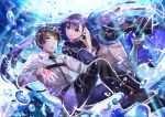 1boy 1girl armor armored_boots black_hair black_pants blue_eyes boots bubble eyebrows_visible_through_hair fate/grand_order fate_(series) floating_hair fujimaru_ritsuka_(male) hair_between_eyes long_hair meltlilith open_mouth panties pants purple_hair smile tattoo thigh-highs thigh_boots underwater underwear uniform very_long_hair violet_eyes yanagiba_kiriko