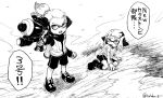 1boy 1girl aiming bike_shorts black_shorts domino_mask highres inkling jacket mask monochrome pointy_ears shoes shorts single_vertical_stripe sneakers splatoon splatoon_2 splattershot_(splatoon) squidbeak_splatoon super_soaker takobe tentacle_hair topknot