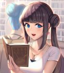 2girls :d absurdres bangs blue_eyes blue_hair blunt_bangs blurry blush book bookshelf breasts brown_hair chain_necklace cleavage collarbone couch crescent crescent_necklace depth_of_field double_bun earrings eyebrows_visible_through_hair facing_away hair_bun heart heart_earrings highres holding holding_book jewelry light long_hair looking_at_viewer moonandmist multiple_girls necklace open_book open_mouth original shiny shiny_hair shirt short_hair short_sleeves sidelocks sitting smile sparkle translation_request twintails upper_body white_shirt