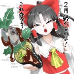 1girl ascot black_hair bow chocolate commentary commentary_request detached_sleeves fish_head futomaki hair_bow hair_tubes hakurei_reimu highres japanese_clothes kuranosuke looking_at_viewer miko open_mouth red_bow red_shirt red_skirt shirt skirt solo touhou translation_request white_background yellow_ascot