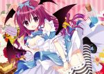 1girl :o alternate_costume apron bare_shoulders bat_wings blush bottle bow breasts cake cleavage cleavage_cutout cookie cork dress dress_pull fang flower food frills fruit full_body garter_straps hair_bow head_wings koakuma loafers long_hair looking_at_viewer low_wings red_eyes redhead rose shiwasu_horio shoes short_sleeves solo strawberry striped striped_legwear thigh-highs touhou wings