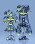 2girls aori_(splatoon) crown detached_collar domino_mask dress fingerless_gloves food food_on_head gloves hime_(splatoon) m10shangrila mask mole mole_under_mouth multiple_girls object_on_head pantyhose pointy_ears short_jumpsuit sleeveless smile splatoon splatoon_2 strapless strapless_dress tentacle_hair unitard white_hair zipper