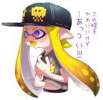 1girl blonde_hair blue_eyes commentary crazy_eyes domino_mask fangs hat highres inkling mask monster_girl pointy_ears puchiman shirt splatoon sweat t-shirt tentacle_hair translated