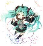 1girl ;3 aqua_eyes aqua_hair armpits blush boots cosplay curly_hair detached_sleeves hatsune_miku hatsune_miku_(cosplay) headphones horn komano_aun looking_at_viewer microphone necktie petals piyokichi skirt skirt_set smile solo tail thigh-highs thigh_boots touhou twintails vest vocaloid