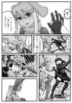 !? 2girls ? afterimage animal_ears bare_back bikini_top boots bridal_gauntlets comic crossover dancing elephant_ears elephant_tail extra_ears godzilla greyscale hair_between_eyes hand_holding highres indian_elephant_(kemono_friends) indoors interlocked_fingers kemono_friends kishida_shiki looking_at_another monochrome motion_lines multiple_girls navel o_o open_clothes open_mouth personification pulling ribs shin_godzilla shirt short_hair skirt smile spoken_question_mark standing stomach stomping tail thigh-highs thigh_boots translation_request zettai_ryouiki