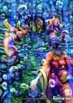 4girls back black_hair bubble copyright_name coral electricity fish force_of_will hair_ornament hair_stick japanese_clothes kimono long_hair mermaid monster_girl multiple_girls official_art rock underwater