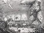 classroom daniel_warren_johnson debris demigorgon eleven_(stranger_things) greyscale monochrome monster psychic short_hair stranger_things