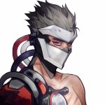 1boy armor cable covered_face cyborg ez_1011 face_mask genji_(overwatch) grey_hair helmet looking_at_viewer male_focus mask mechanical_arm overwatch plug red_eyes scar simple_background solo spiky_hair white_background