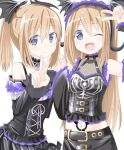 2girls alternate_costume bare_shoulders bat_ornament black_clothes blue_eyes brown_hair choker gothic_lolita highres interlocked_fingers lolita_fashion long_hair multiple_girls navel neptune_(series) niwaka_potato one_eye_closed open_mouth ponytail ram_(choujigen_game_neptune) rom_(choujigen_game_neptune) siblings smile twins v