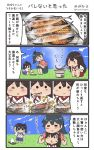 10s 3girls 4koma akagi_(kantai_collection) brown_hair chopsticks comic commentary_request eating fish hakama hakama_skirt high_ponytail highres hiyoko_(nikuyakidaijinn) houshou_(kantai_collection) japanese_clothes kaga_(kantai_collection) kantai_collection kimono long_hair multiple_girls outdoors ponytail side_ponytail speech_bubble squatting straight_hair sweatdrop tasuki translation_request twitter_username younger