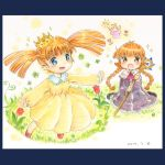 2girls :d :o blue_eyes blush brown_eyes brown_hair clover crown dated dress flower graphite_(medium) grass irukuku kneeling kukuri looking_at_another mahoujin_guruguru multiple_girls open_mouth outdoors outstretched_arms popurieru red_shoes shoes short_twintails smile staff traditional_media twintails watercolor_pencil_(medium) yellow_dress