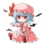 1girl angry ascot bat bat_wings blue_hair blush_stickers bow brooch chibi closed_mouth dress flower frown full_body hat jewelry lowres mob_cap outstretched_hand pink_dress puffy_short_sleeves puffy_sleeves red_ascot red_bow red_eyes red_shoes remilia_scarlet rose shoes short_hair short_sleeves simple_background sindre sitting solo touhou white_background wings wrist_cuffs