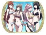 4girls bikini black_eyes black_hair braid breasts brown_eyes brown_hair bubble cleavage cowboy_shot fire_emblem fire_emblem:_kakusei flower frame frilled_bikini frills hair_flower hair_ornament hairband hand_on_own_chest highres kawasemi_(bw_77) long_hair looking_at_viewer medium_breasts midriff multiple_girls navel olivia_(fire_emblem) pink_eyes pink_hair ponytail red_eyes redhead short_twintails side-tie_bikini sidelocks small_breasts smile sumia swimsuit tharja tiamo twin_braids twintails wing_hair_ornament