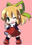 1girl ;d arm_behind_back bangs black_shirt blonde_hair blush boots chibi commentary_request dress eyebrows_visible_through_hair frilled_dress frills full_body green_eyes green_ribbon hair_ribbon index_finger_raised knee_boots looking_at_viewer one_eye_closed open_mouth osaragi_mitama pink_background ponytail red_boots red_dress ribbon rockman rockman_(classic) roll shirt sidelocks smile solo standing turtleneck turtleneck_dress undershirt