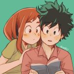 artist_name blush_stickers boku_no_hero_academia brown_eyes brown_hair casual cheek-to-cheek collar commentary freckles green_background green_eyes green_hair green_shirt hand_on_shoulder hands_on_another's_shoulders lowres midoriya_izuku notebook parted_lips reading red_shirt saku_(ladyfubuki) shirt short_hair sidelocks simple_background teeth upper_body uraraka_ochako