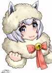 1girl 2017 alpaca_ears alpaca_huacaya_(kemono_friends) bell bow bowtie clenched_hands dated eyebrows_visible_through_hair fur-trimmed_sleeves fur_collar fur_trim grey_eyes hands_up happa_(cloverppd) jingle_bell kemono_friends looking_at_viewer short_hair signature simple_background solo upper_body white_background white_hair