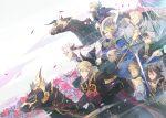 6+boys armor benoit_(fire_emblem_if) blonde_hair blue_hair book cape fire_emblem fire_emblem_if flannel_(fire_emblem_if) gauntlets gloves harold_(fire_emblem_if) highres holding holding_book holding_weapon horse horseback_riding joker_(fire_emblem_if) kariya_(mizore) lazward_(fire_emblem_if) leon_(fire_emblem_if) marks_(fire_emblem_if) multiple_boys odin_(fire_emblem_if) pauldrons riding silas_(fire_emblem_if) weapon