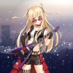 1girl absurdres belt black_gloves blonde_hair breasts choker elbow_gloves electric_guitar esp_guitars flying_v gloves guitar heart-shaped_sunglasses highres instrument long_hair looking_at_viewer midriff original shorts single_thighhigh sleeveless solo striped striped_legwear sunglasses thigh-highs two_side_up yuhuan