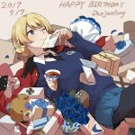 1girl 2017 black_legwear black_neckwear blonde_hair blue_eyes blue_rose blue_skirt blush boko_(girls_und_panzer) bow card character_name cup darjeeling dated flower gift girls_und_panzer happy_birthday lying necktie on_back one_eye_closed pantyhose ree_(re-19) ribbon rose skirt smile solo st._gloriana's_school_uniform sweater teacup teddy_bear thighs wink