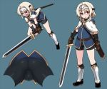 1girl ahoge ass bike_shorts black_footwear blonde_hair blush boots brooch brown_gloves capelet fingerless_gloves gauntlets gloves headpiece jewelry leather leather_gloves looking_at_viewer null_(nyanpyoun) open_mouth original red_eyes sheath short_hair simple_background solo sword weapon