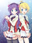2girls ayase_eli blush futaru_usagi highres looking_at_viewer love_live! love_live!_school_idol_project miniskirt multiple_girls pleated_skirt skirt smile sore_wa_bokutachi_no_kiseki toujou_nozomi