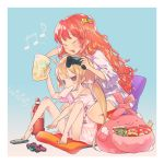 >:  2girls :3 ahoge aqua_background bangs bare_legs bare_shoulders barefoot bent_knees between_legs blonde_hair blush chair closed_eyes coca-cola collarbone controller eyebrows_visible_through_hair food food_in_mouth futaba_anzu game_controller gradient gradient_background hair_ornament holding holding_bag idolmaster idolmaster_cinderella_girls kitkat leaning_forward long_hair low_twintails matching_outfit moroboshi_kirari multiple_girls musical_note orange_hair oversized_clothes oversized_shirt playing_games pointing popsicle pouch reaching remote_control shirt sitting snack soda_bottle solid_oval_eyes star star_hair_ornament stuffed_animal stuffed_bunny stuffed_toy stuffing twintails uyori very_long_hair wavy_hair white_shirt